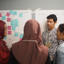 Team 2 gathers at to sort through all their information on the board.